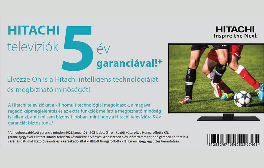 Hitachi LED TV-k 5 év garanciával