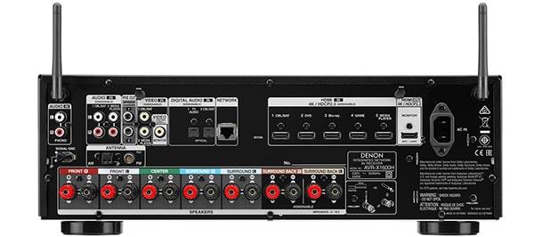Denon AVR-X1600H hátlapi csatlakozók