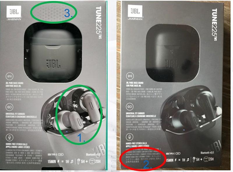 Eredeti és a hamis JBL T225TWS fülhallgató